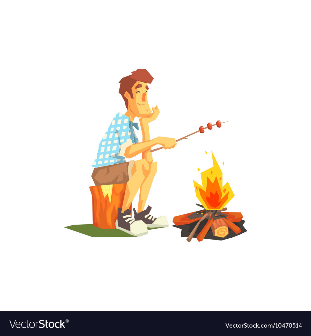 Guy Frying Meat On Camp Bonfire vector image