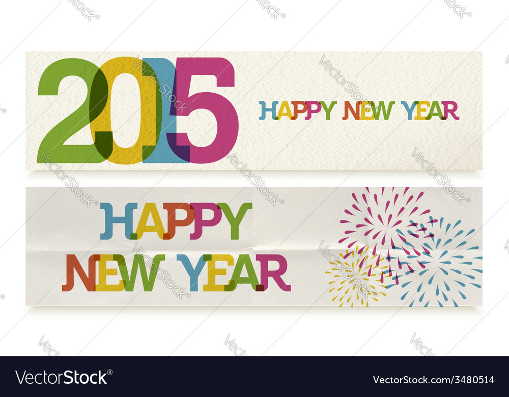 Happy New Year 2015 folded paper banners set