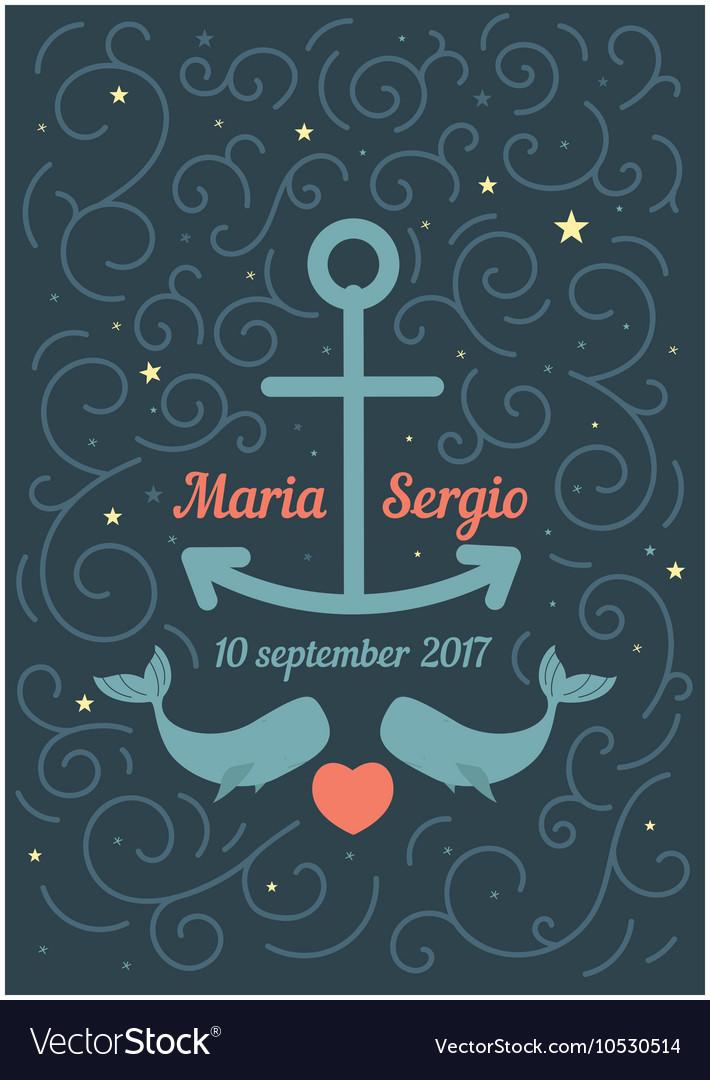Invitation to wedding in a marine theme