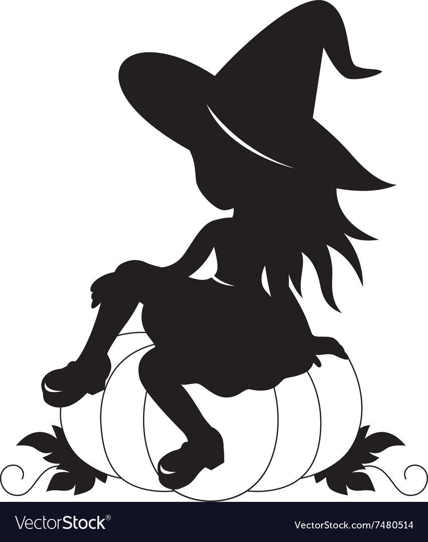 Little witch and pumpkin silhouette