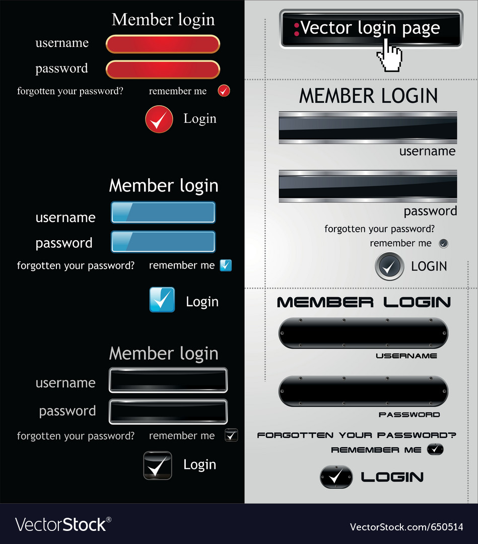 login page template royalty free vector image vectorstock