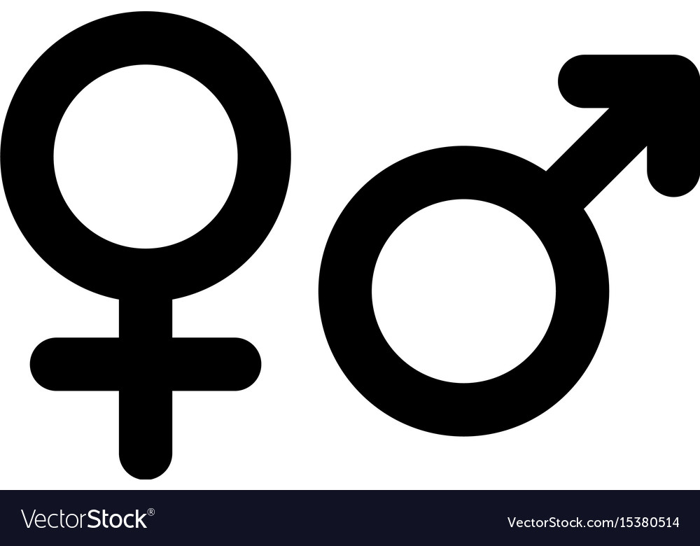 male and female gender symbol simple black flat vector image vectorstock