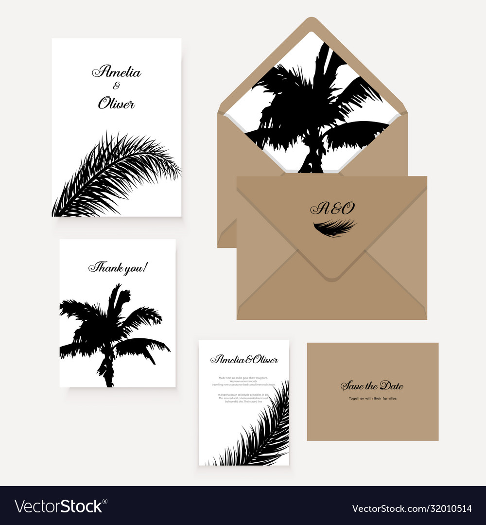 Minimalist botanical wedding invitation card
