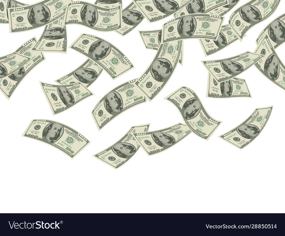 Money falling business concept dollars banknotes
