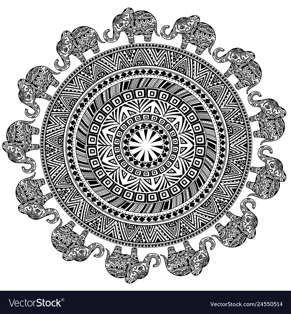 Round pattern with ethnic elements and elephants