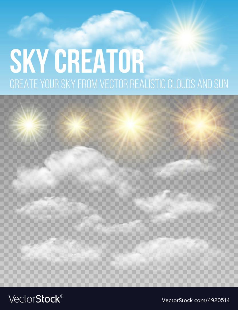 Sky creator Set realistic clouds and sun