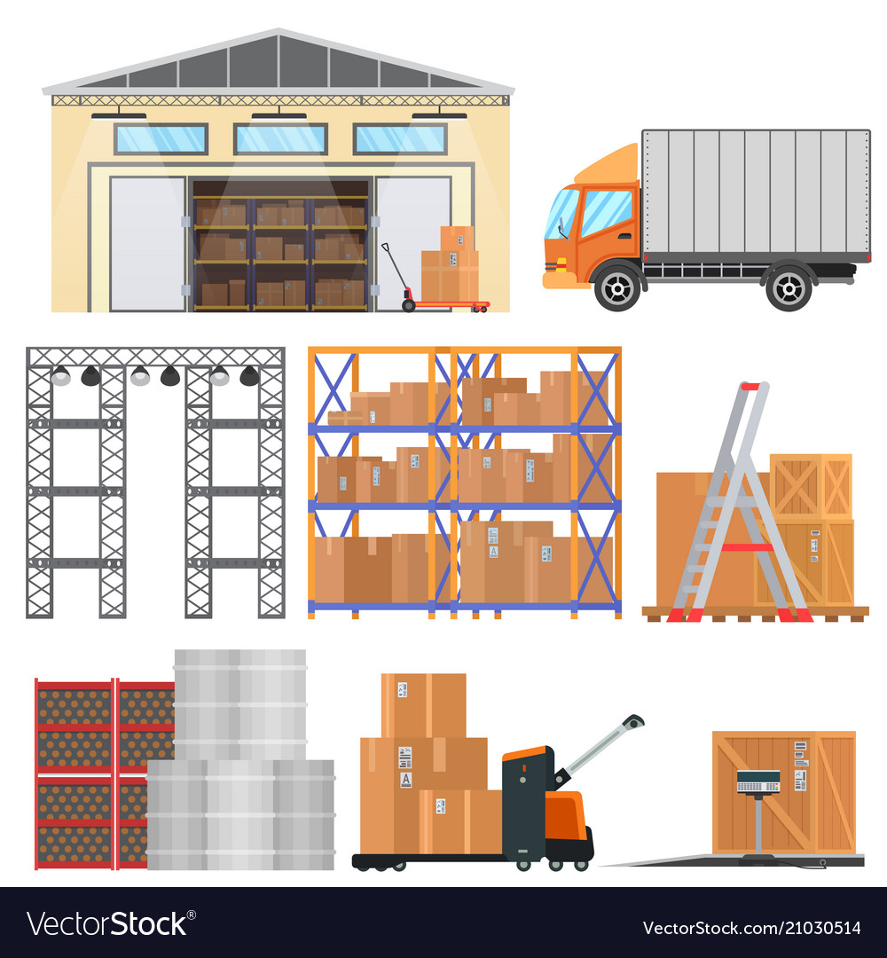 Warehouse and logistic flat equipment icons