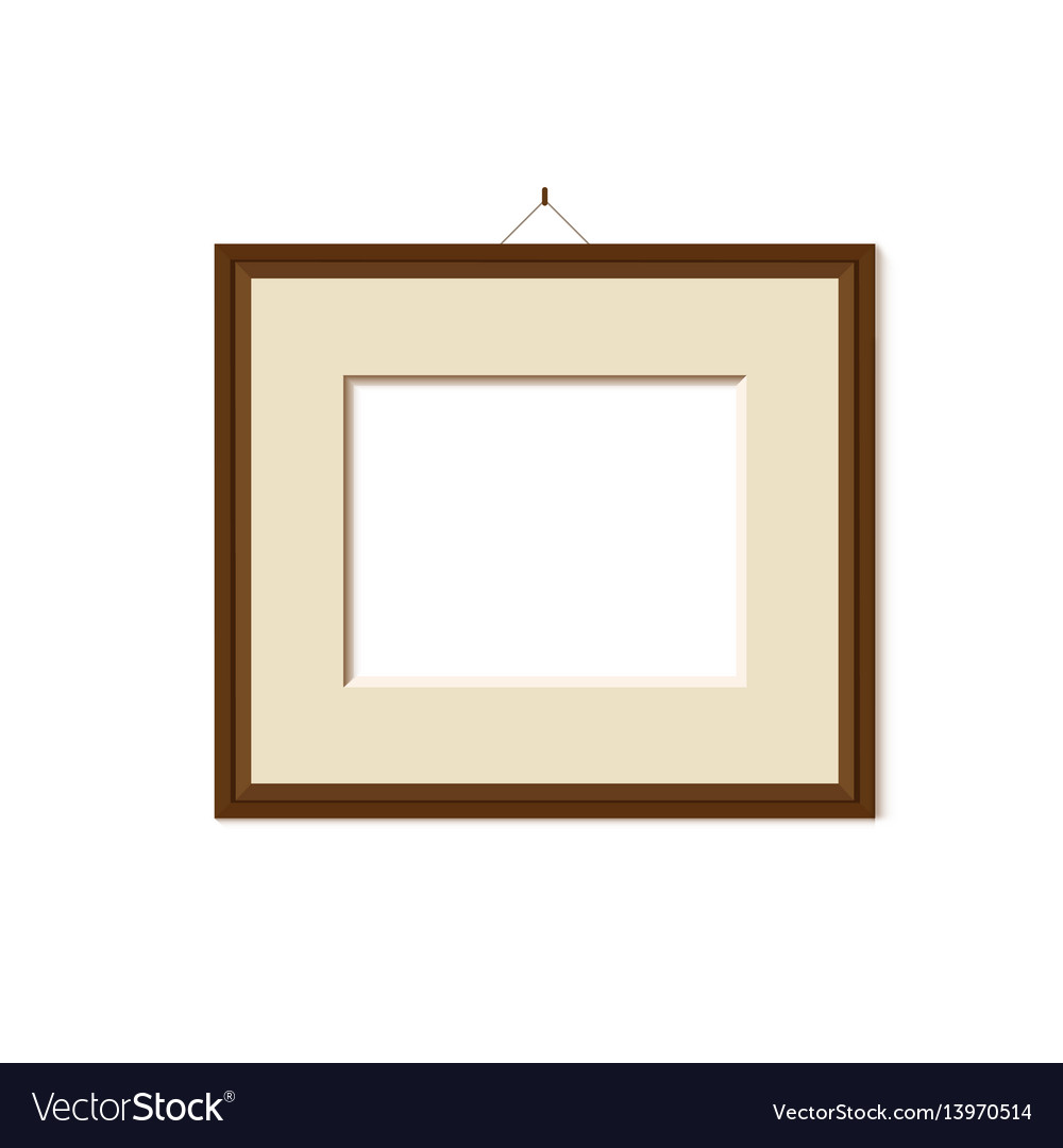 Wooden frame for painting or picture on white vector image