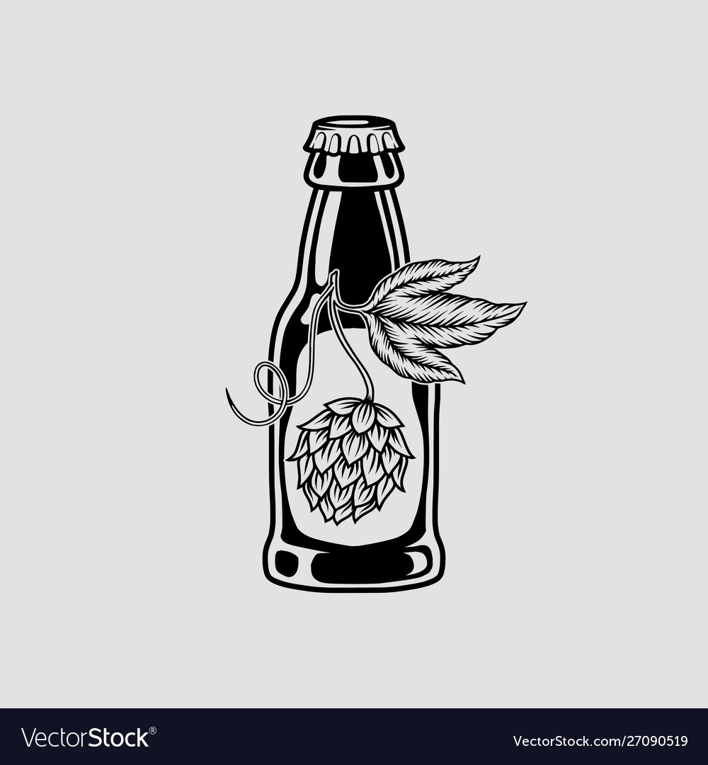 Beer and hops monochrome isolated icon