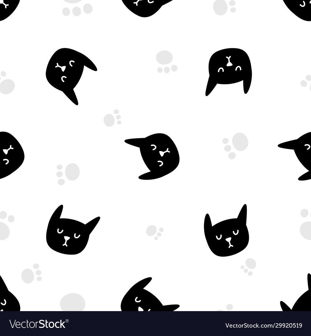 Black cat faces seamless pattern