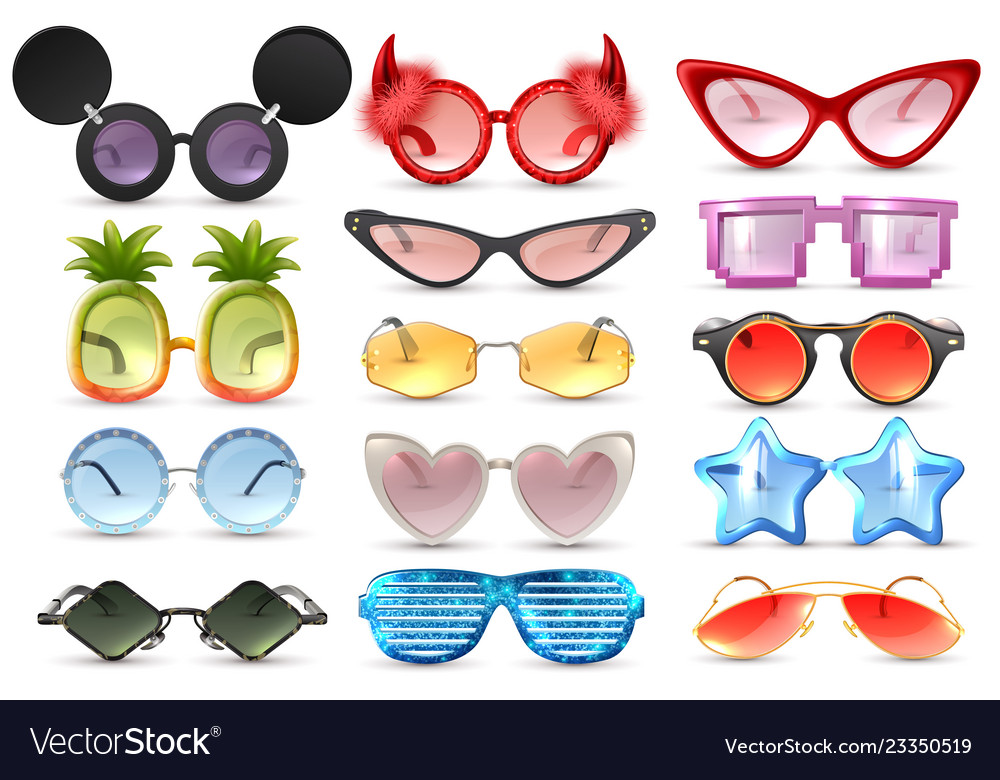 e8198883d8 Carnival glasses realistic set Royalty Free Vector Image