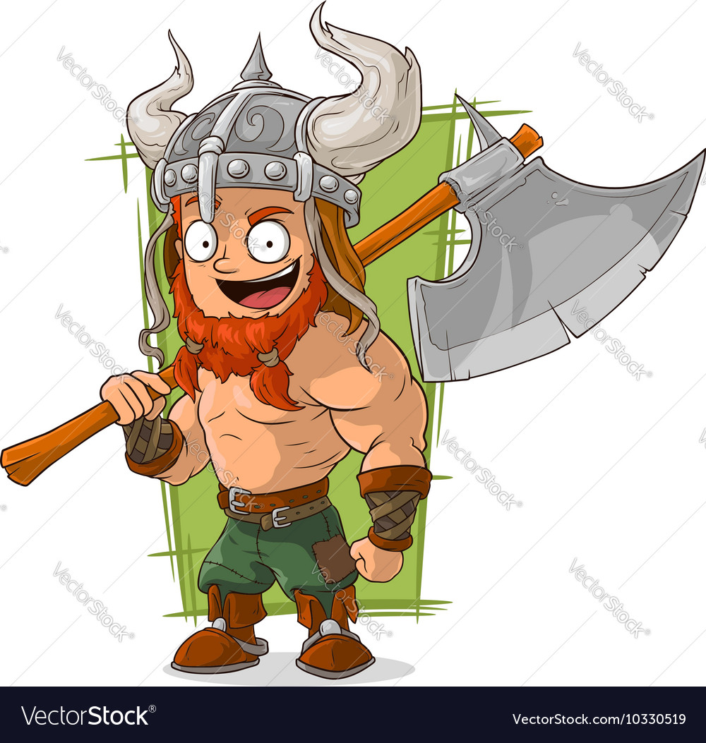Cartoon strong viking with big axe