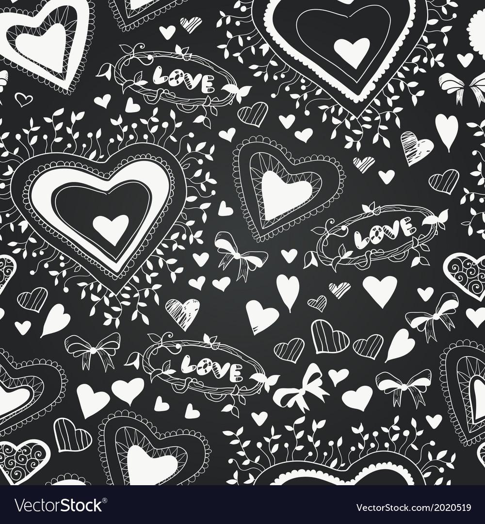 Chalkboard seamless floral pattern