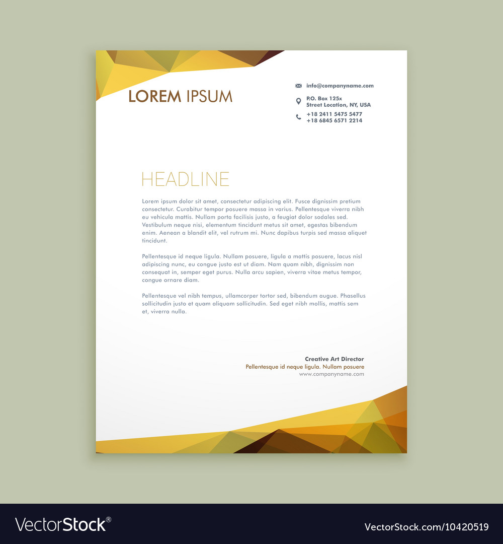 corporate modern letterhead design vector image