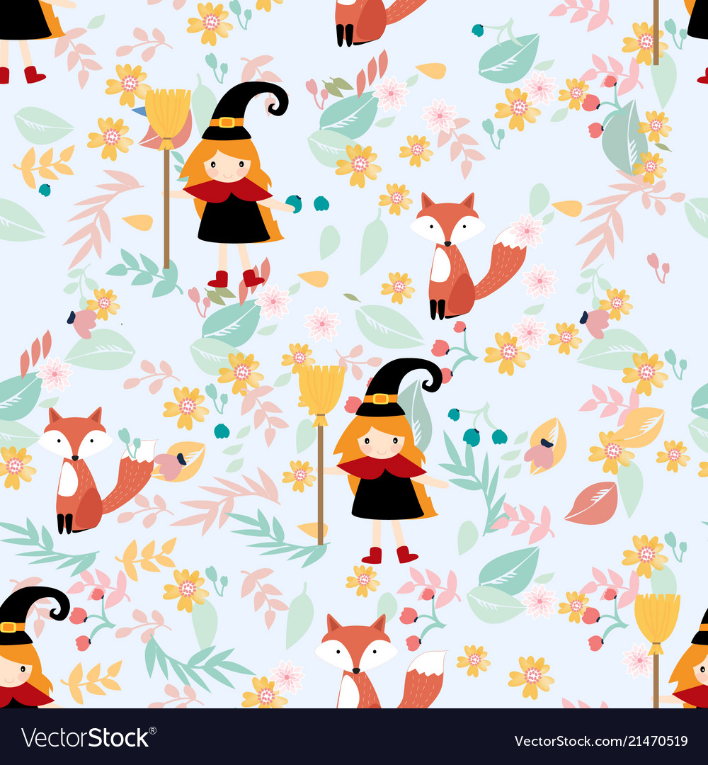 Cute witch and fox in floral seamless pattern