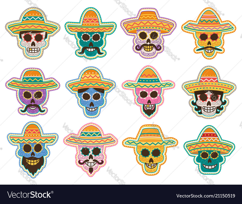 Day of the dead skull icon mexican holiday design
