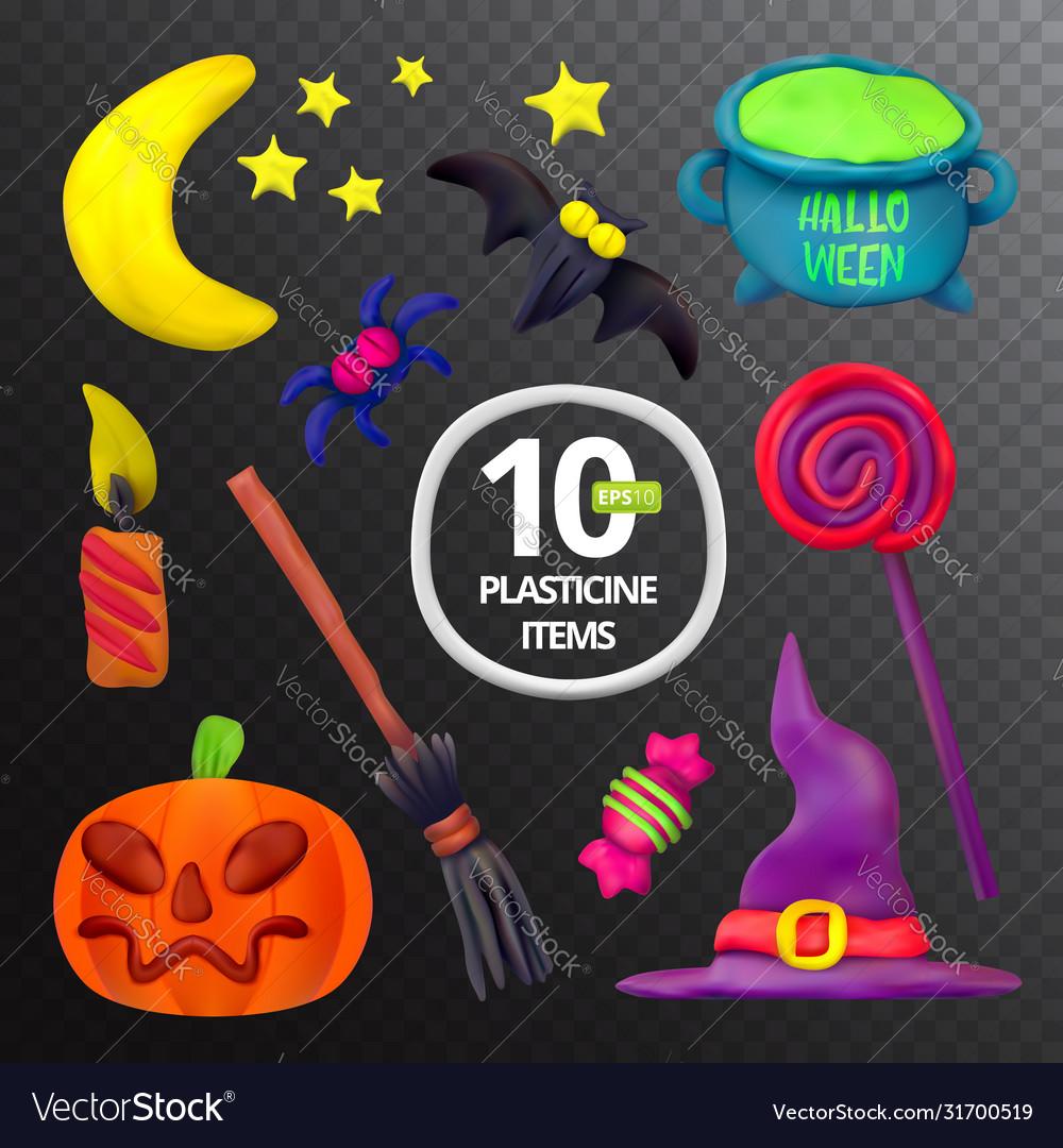 Handmade plasticine set for halloween moon bat