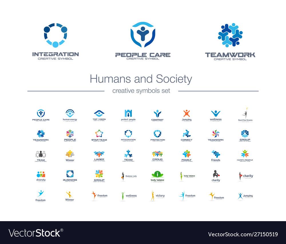 Humans group society creative symbols set people