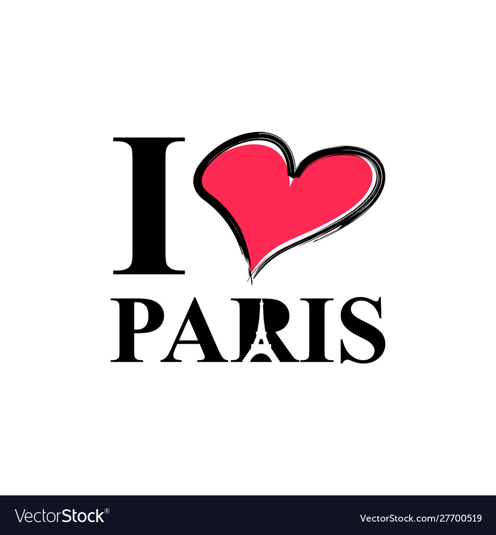 I love paris hand drawn lettering and eiffel tower