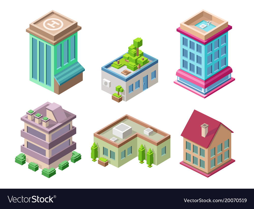 Isometric 3d buildings and city houses
