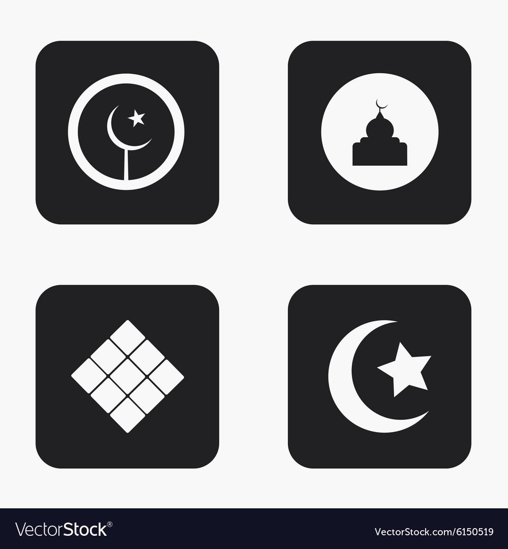 Modern eid mubarak icons set