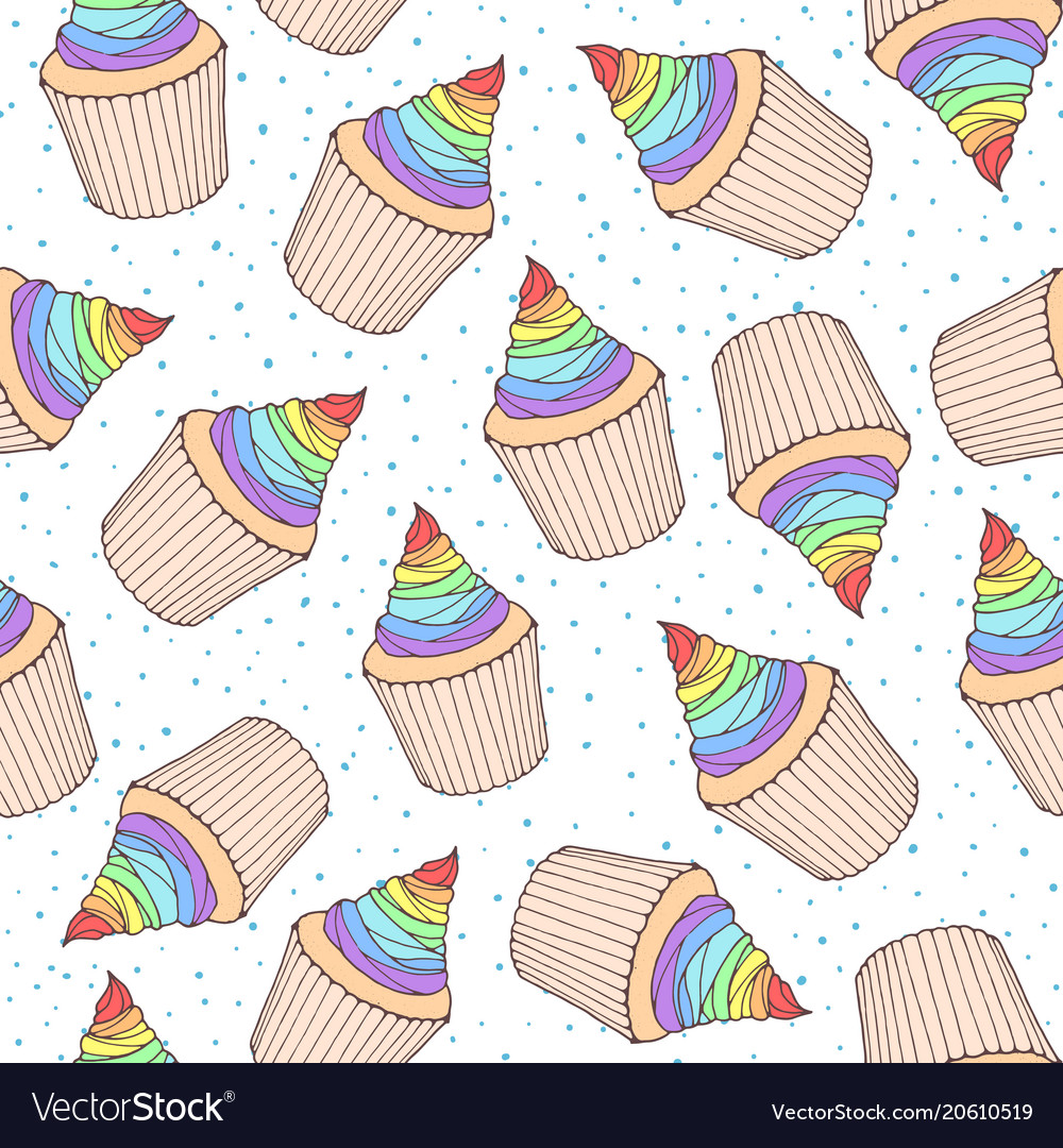 Seamless pattern with cupcakes and muffins