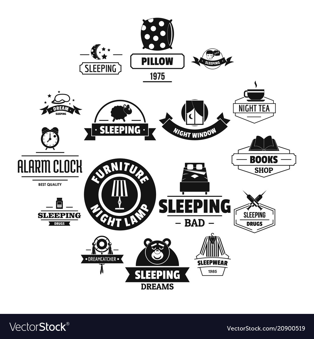 Sleep logo icons set simple style