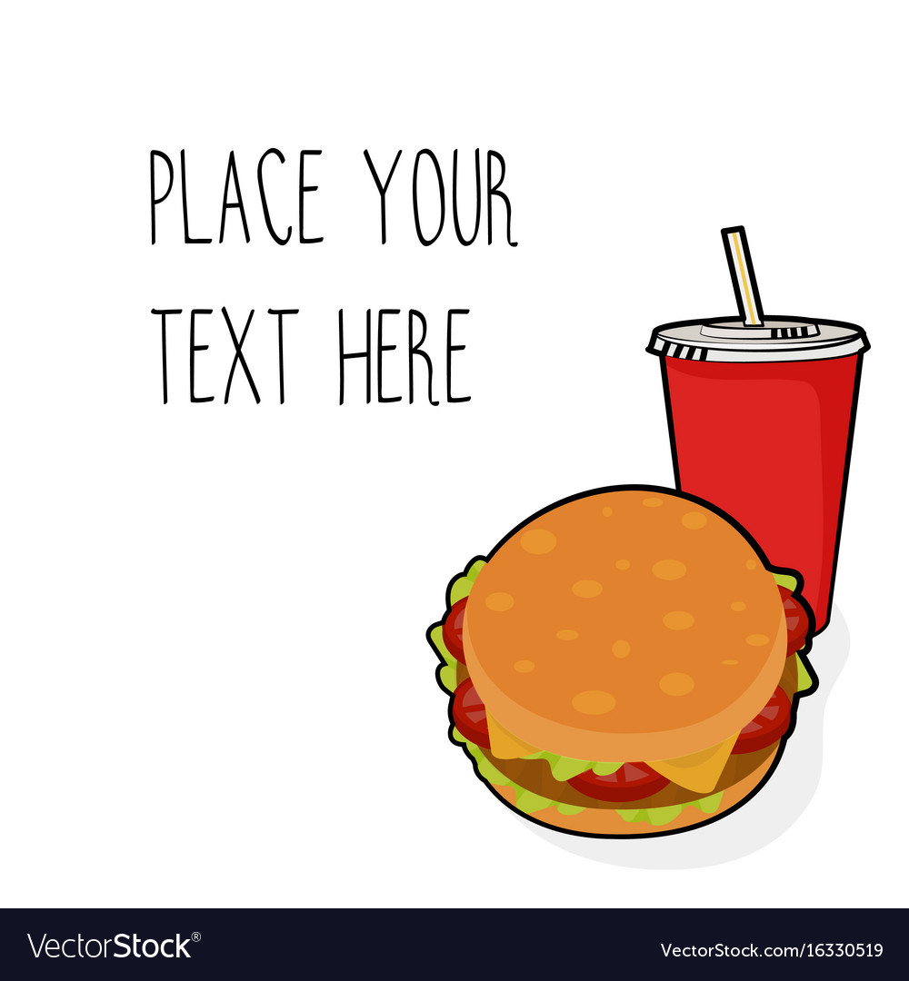 Template with burger and red soda cup