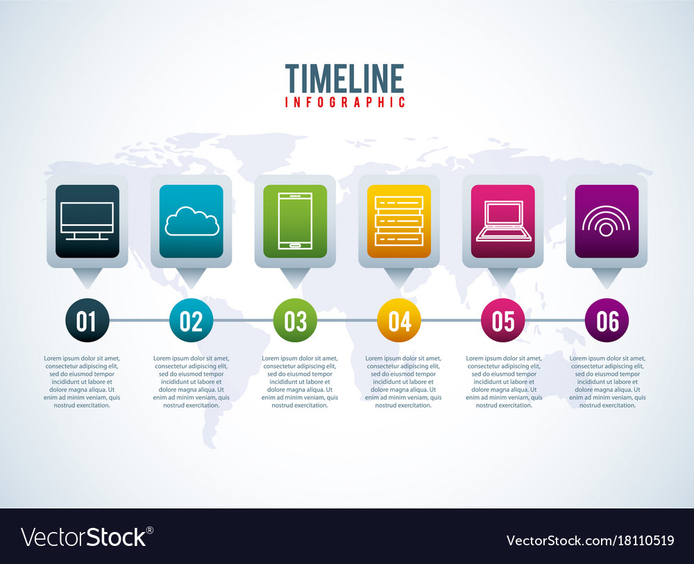 Timeline infographic world conection storage