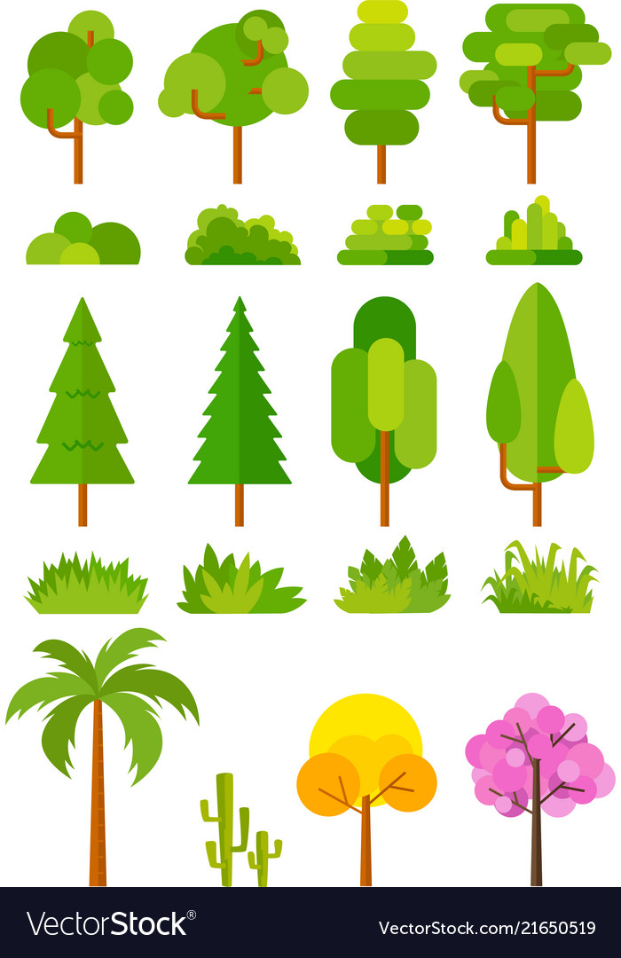 Tree set for park and landscape images