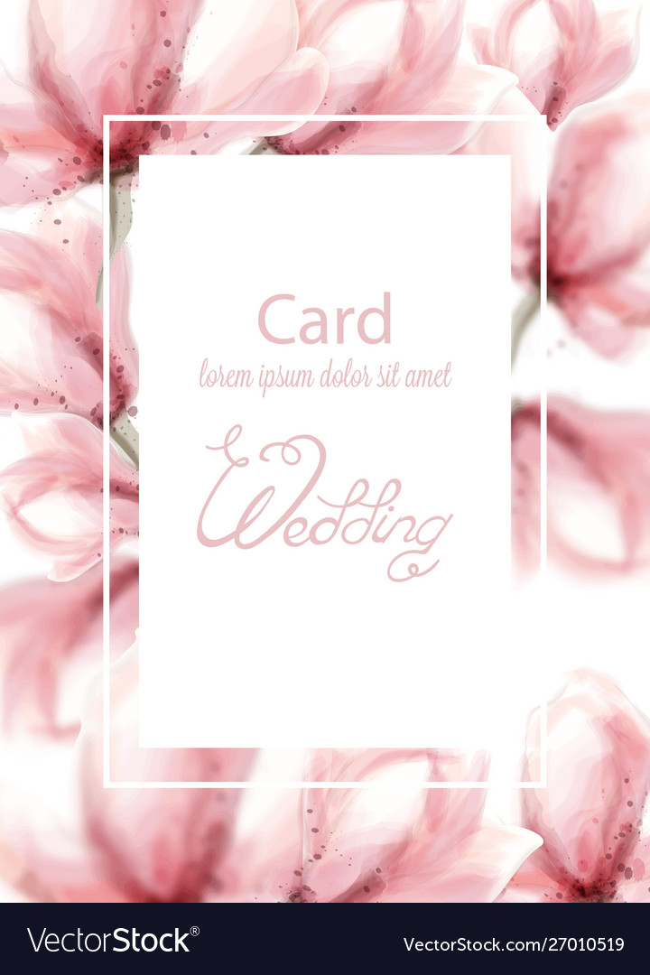 Wedding card with pink flowers watercolor