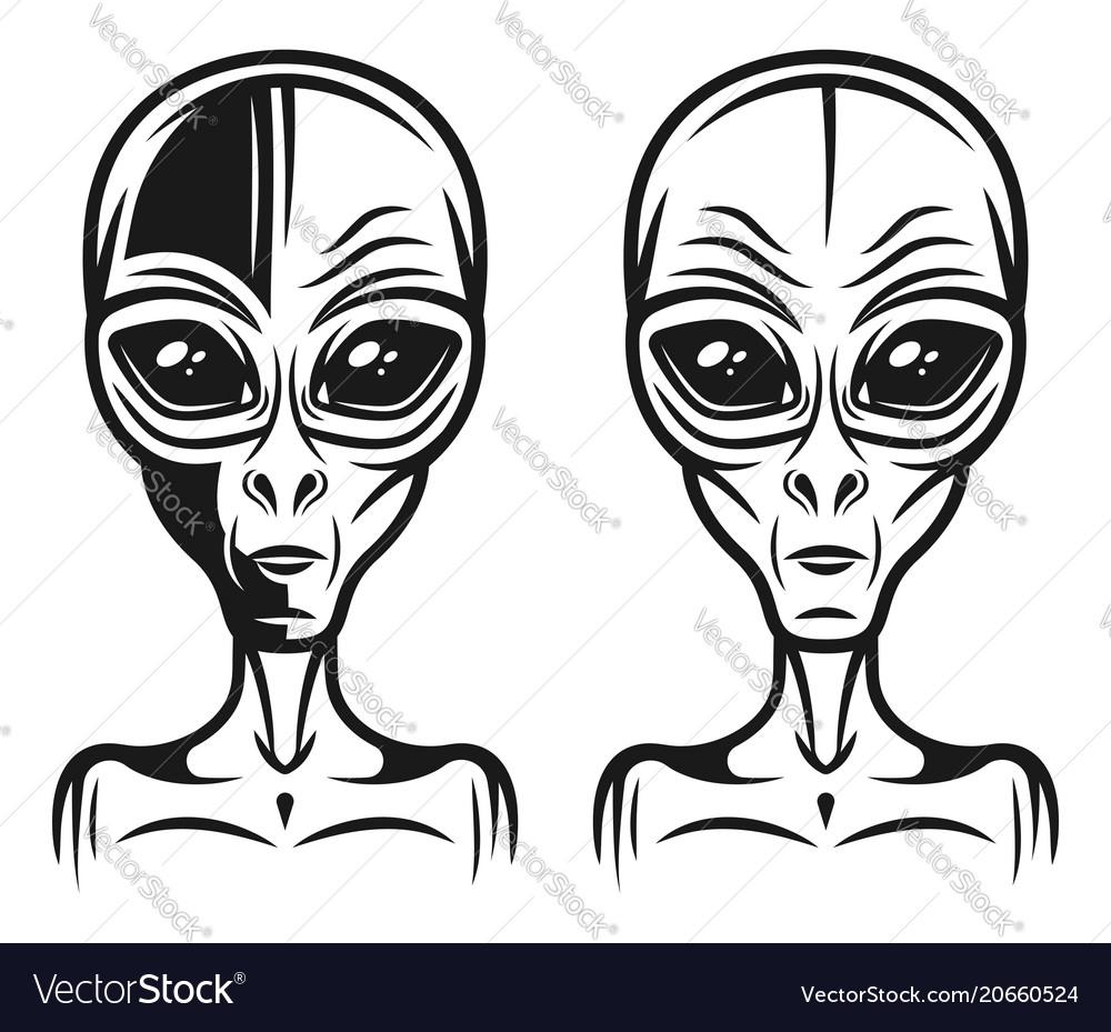 Alien head two styles monochrome vector image