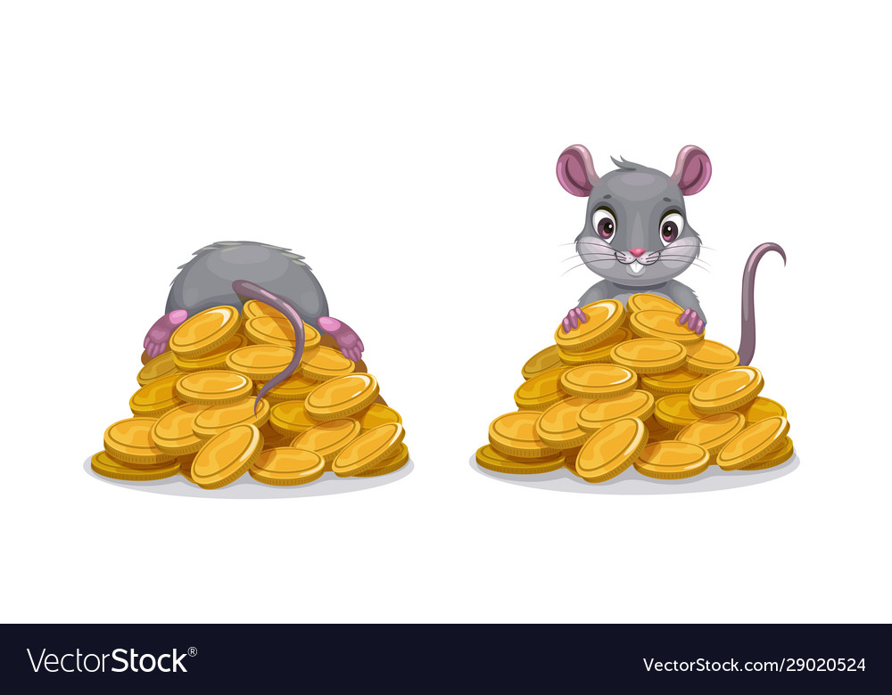 Cute comic mouse sitting on pile golden