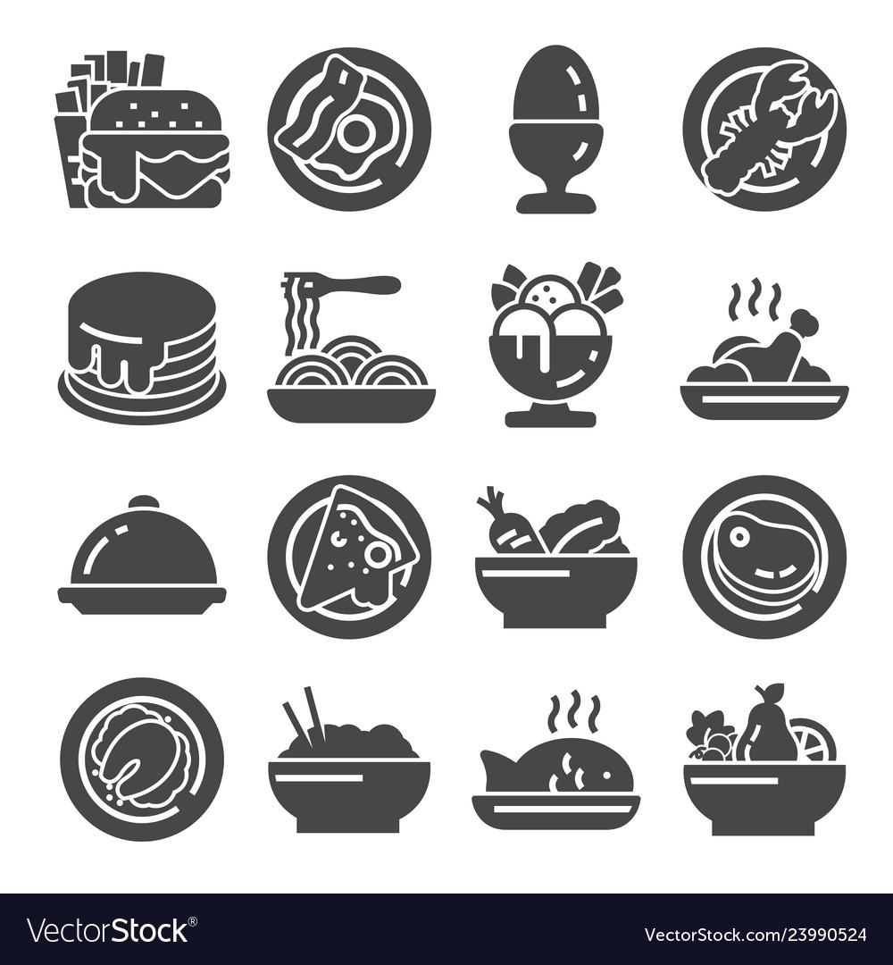 Food icon set on white background