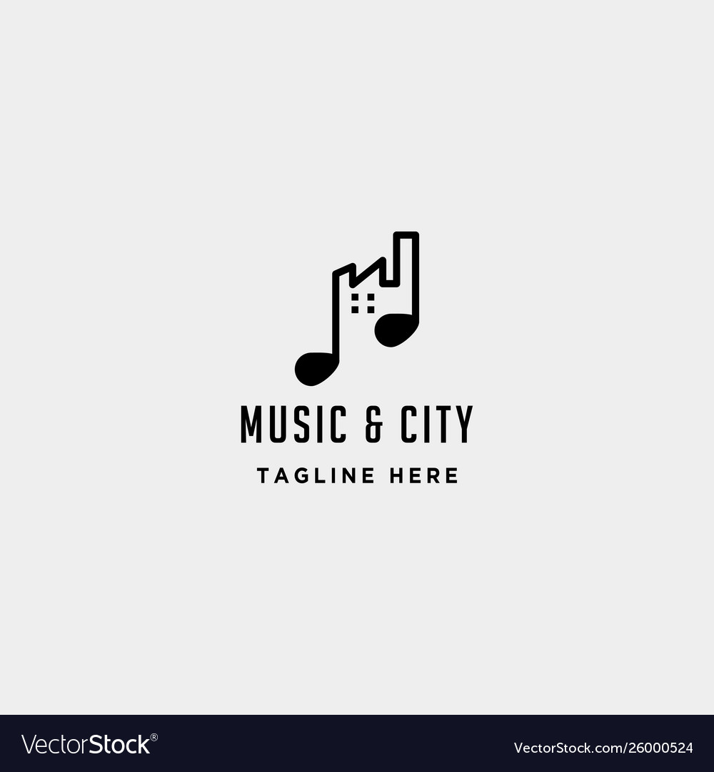 Music urban city logo design line simple icon