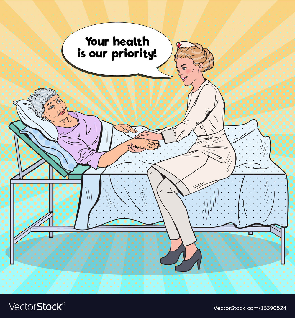 Pop art nurse holding hand of older woman vector image