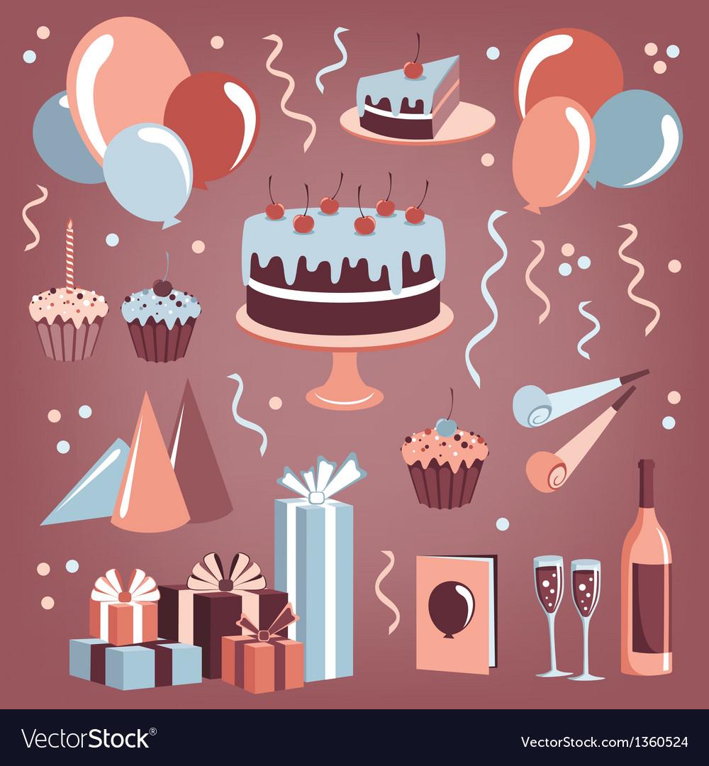 Set of celebration design elements