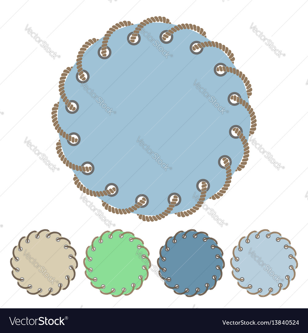 Set round stickers and labels with rope