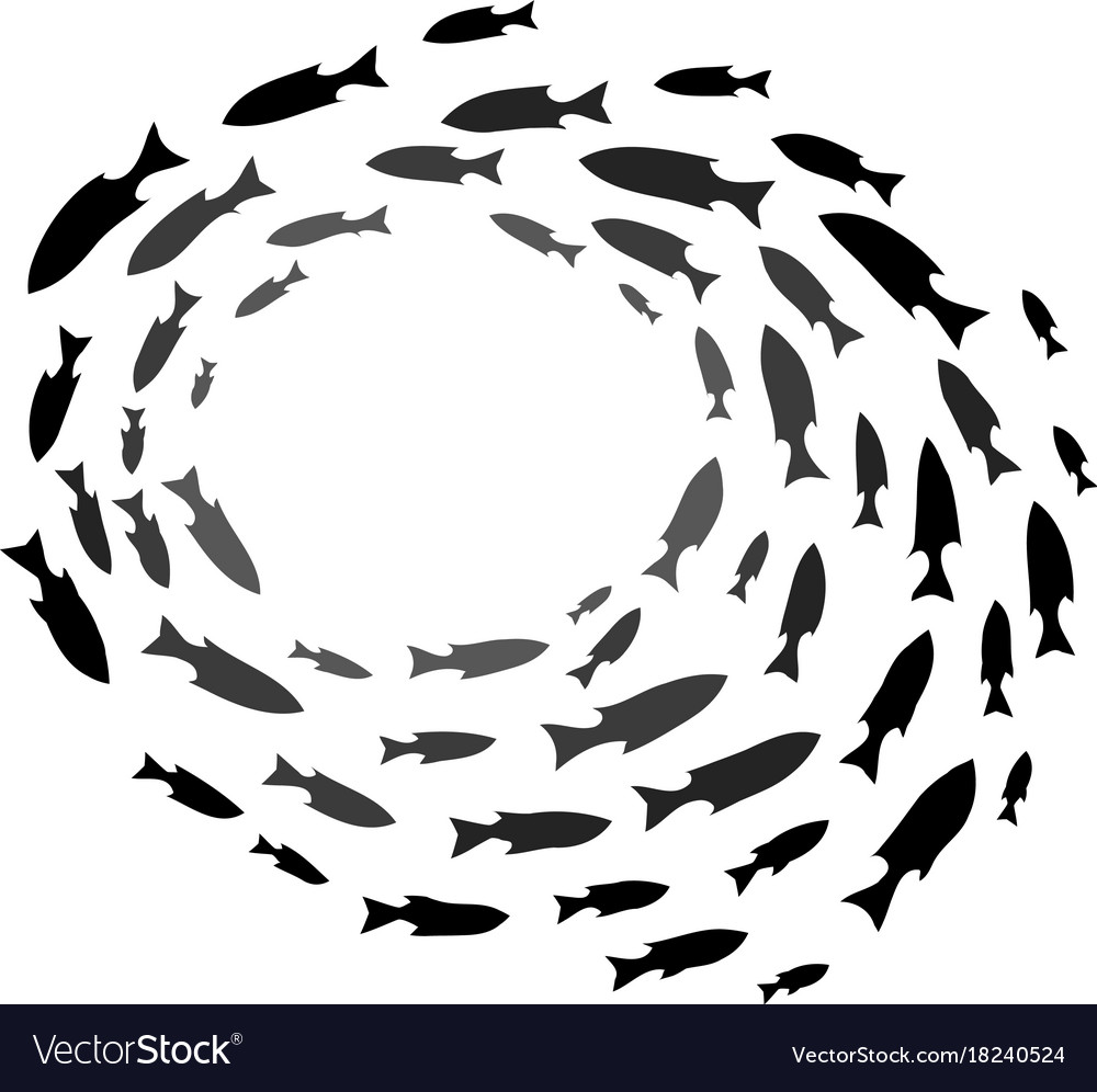 Shoal of fish school of ocean fish silhouettes