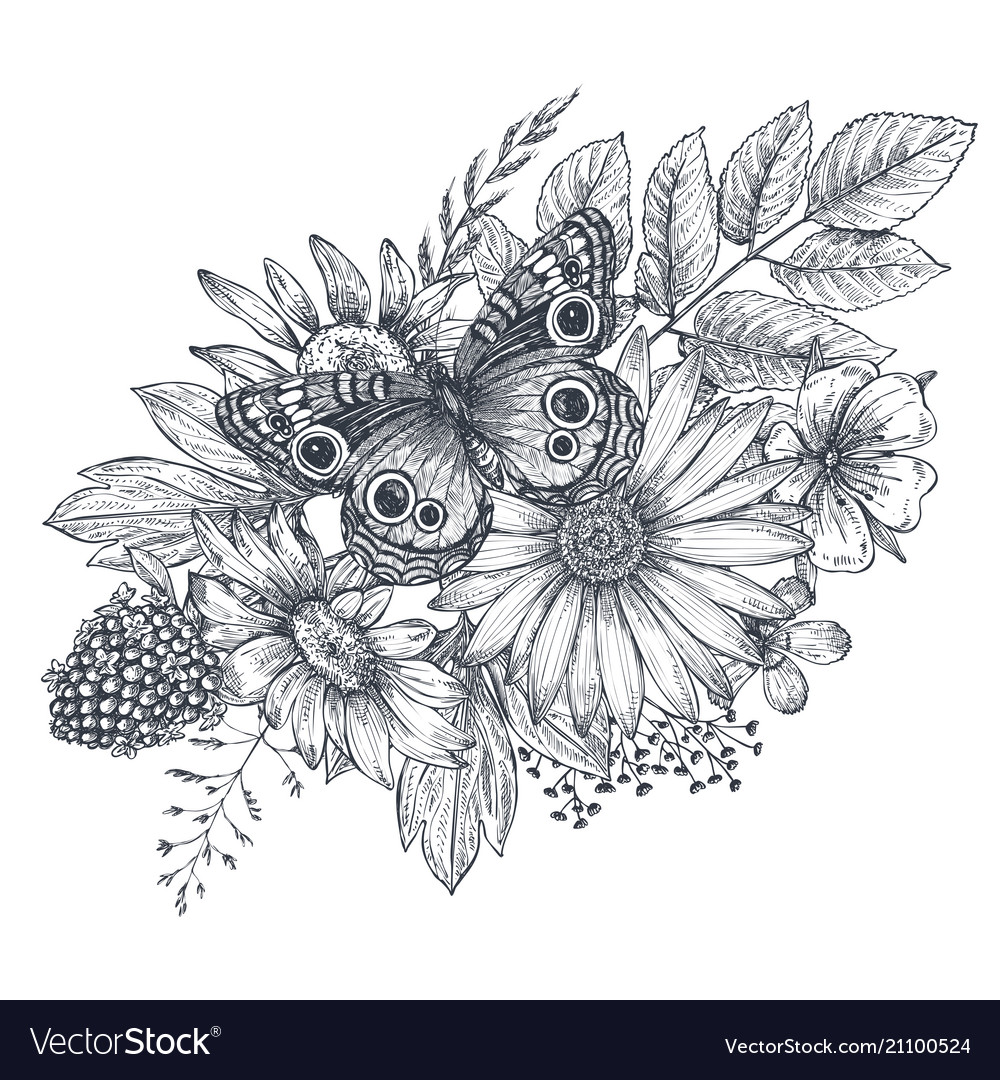 Wreath with hand drawn flowers leaves and