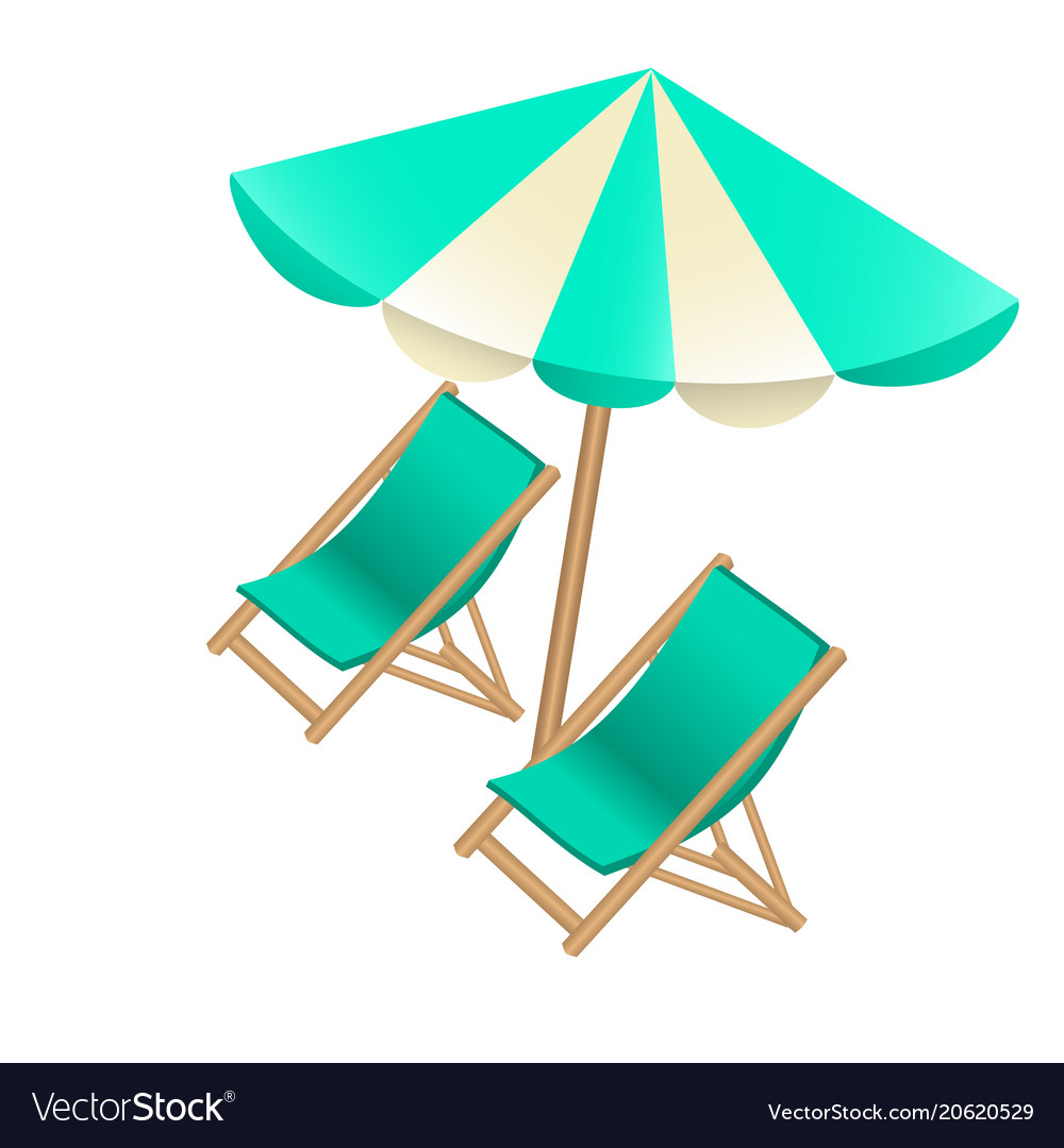 Beach umbrella and chair Heavy Duty Beach Umbrella And Chairs To Decorate Tourist Vector Image