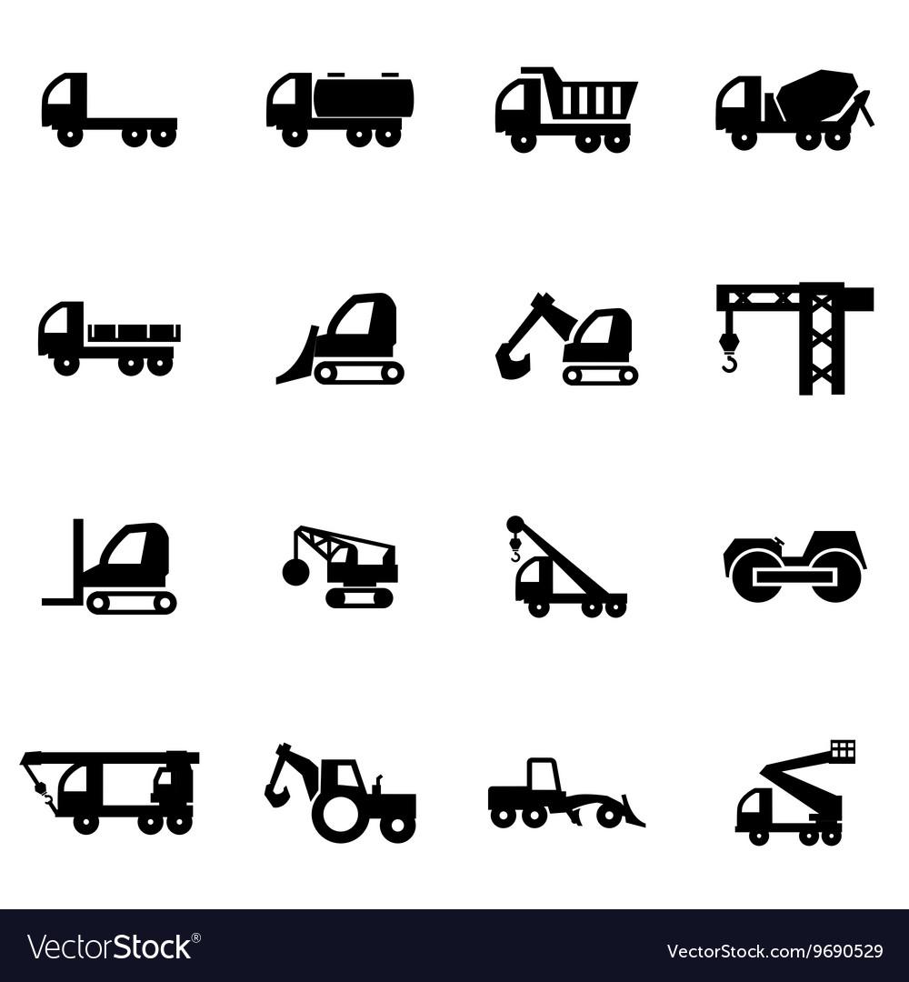 Black construction transport icon set vector image