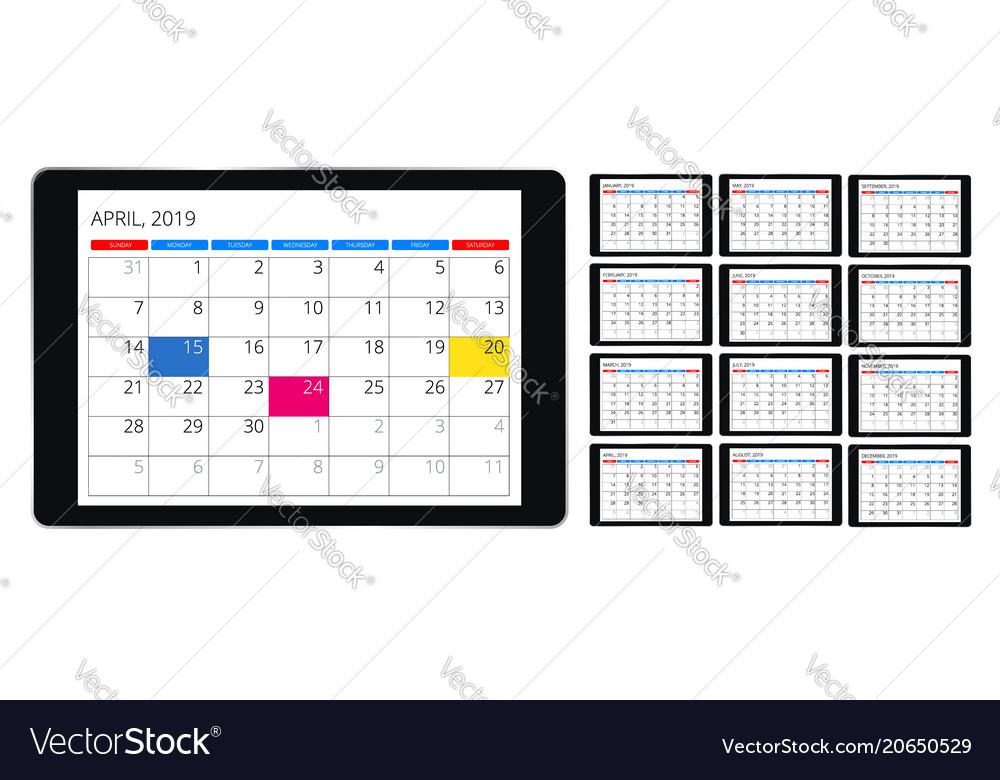 Calendar for 2019 year design print