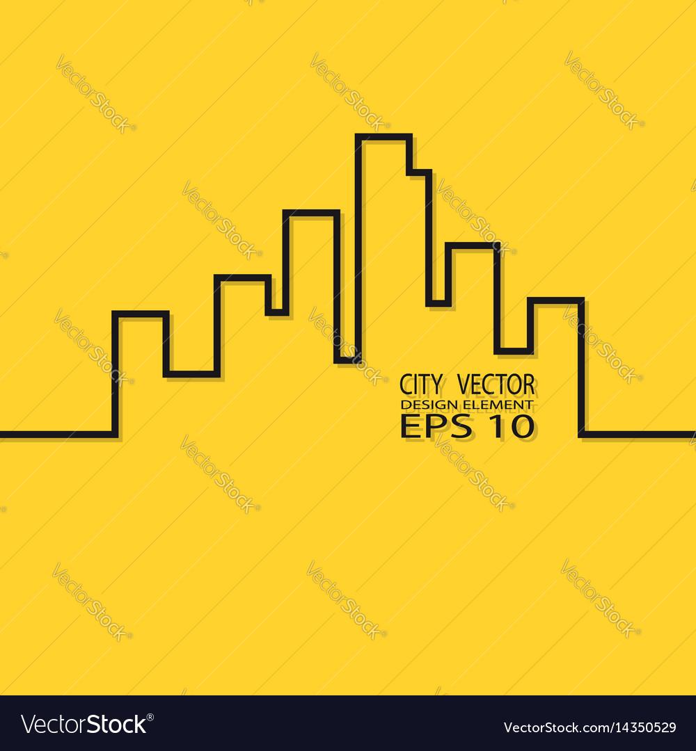 City contour on a yellow background design element