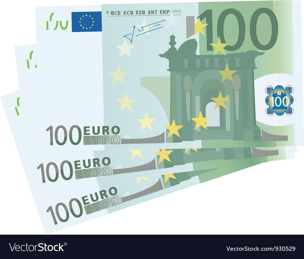 Drawing of a 3x 100 Euro bills vector image