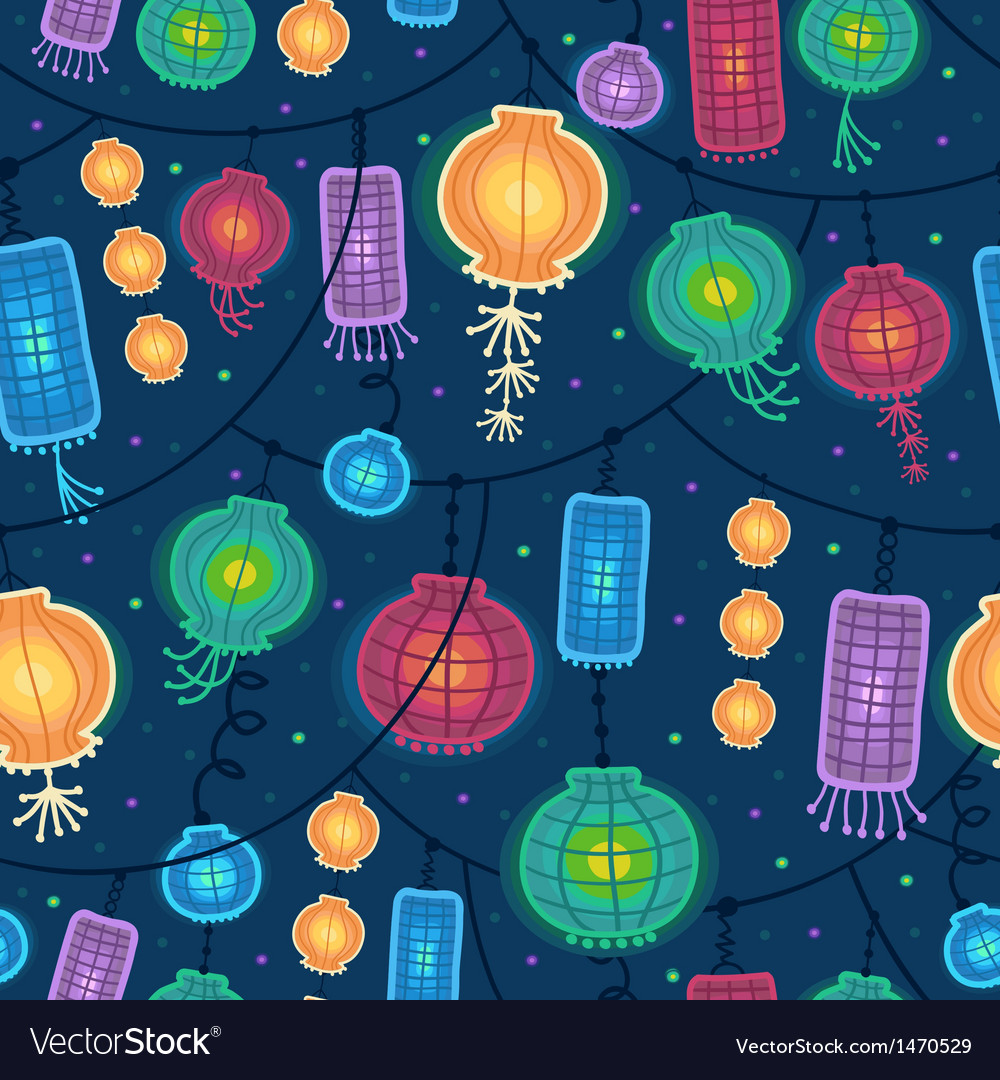 Glowing lanterns seamless pattern background vector image