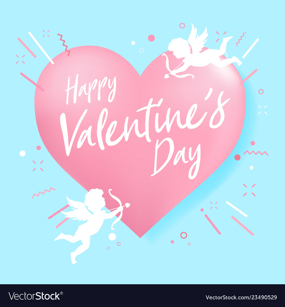 Happy valentine day heart shape and cupid
