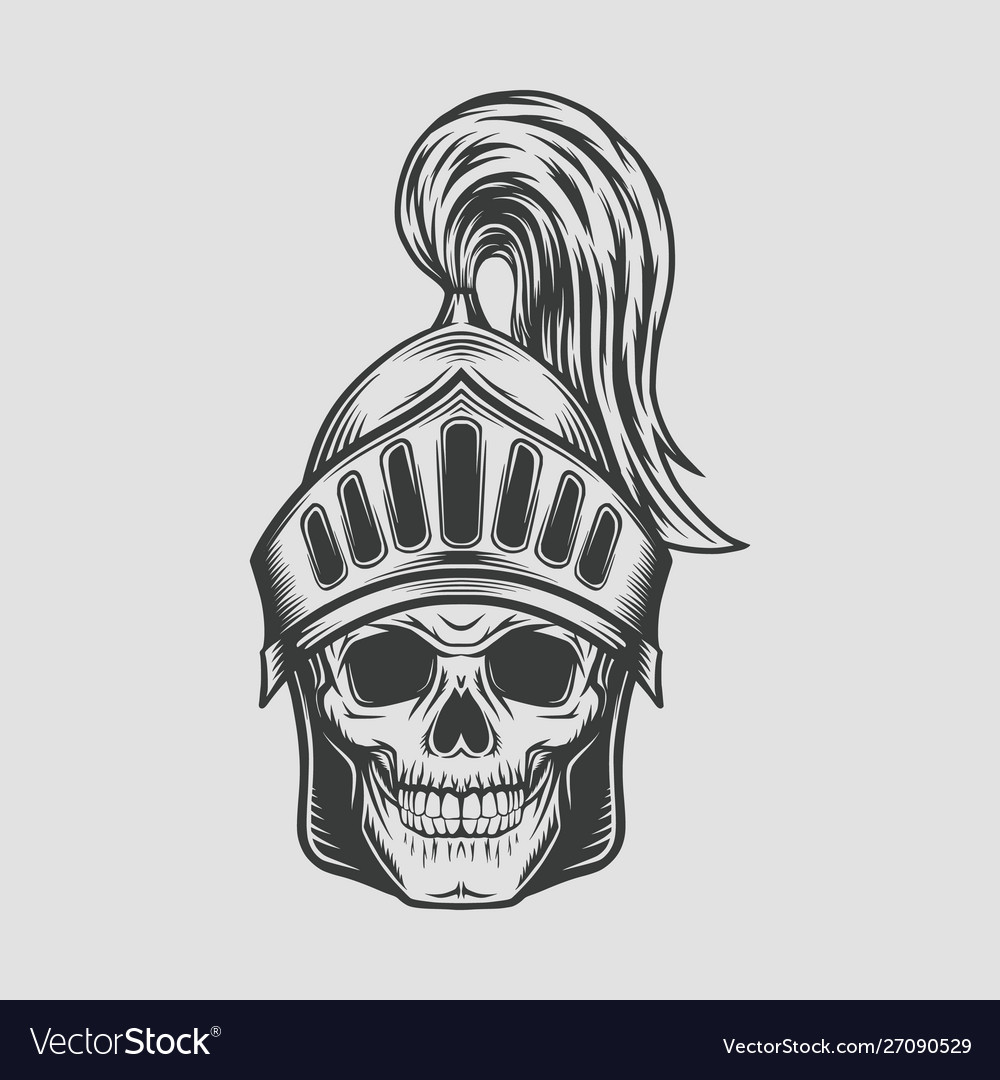 Head skull with knight warrior helmet