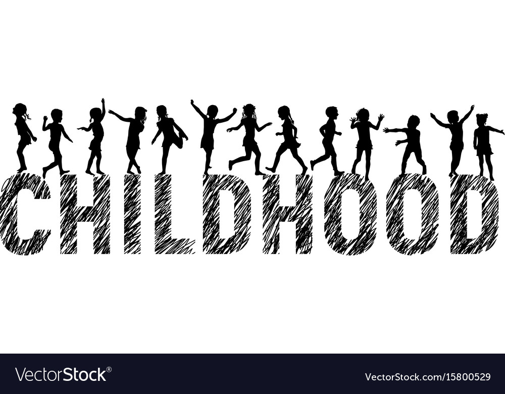 Letters childhood and silhouettes happy children vector image