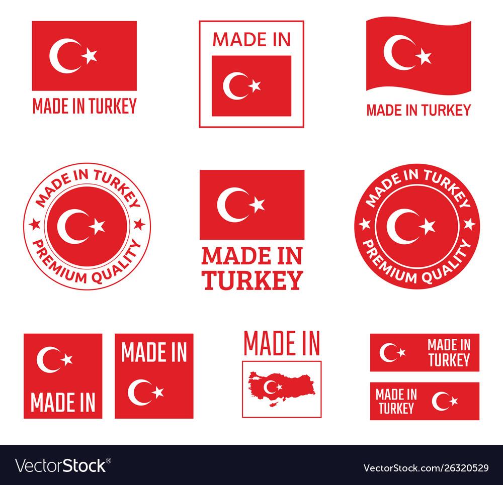 Made in turkey labels set republic turkey